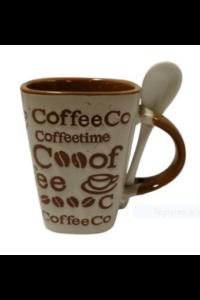 Kerámia kávés bögre kanállal bézs színű. 3dl