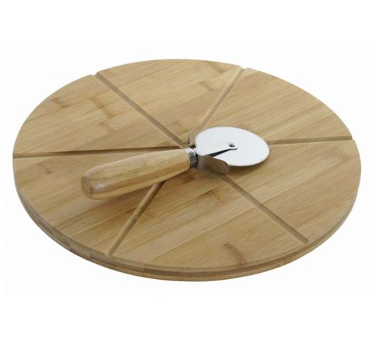 Bambusz pizza vágódeszka késsel